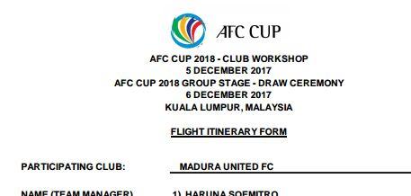 Madura United FC Diundang Drawing AFC di Malaysia