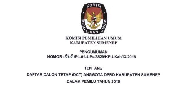 Resmi, KPU Sumenep Umumkan DCT Anggota DPRD Sumenep 2019. Berikut Daftarnya
