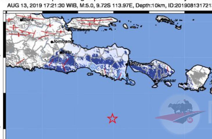 Lagi, Bali Diguncang Gempa Bumi 5,0 SR