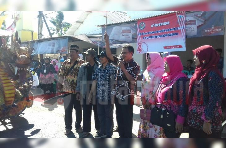 Lepas Pawai HUT Kemerdekaan RI Ke-74 PKG PAUD Gapura, Begini Harapan Camat Kahir