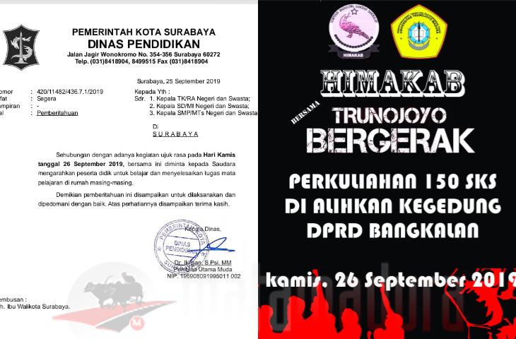 Kamis Demo Serentak Surabaya Liburkan Sekolah Madura